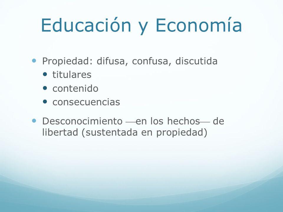 Educación y Economía Propiedad: difusa, confusa, discutida titulares