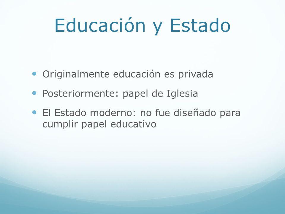 Educación y Estado Originalmente educación es privada