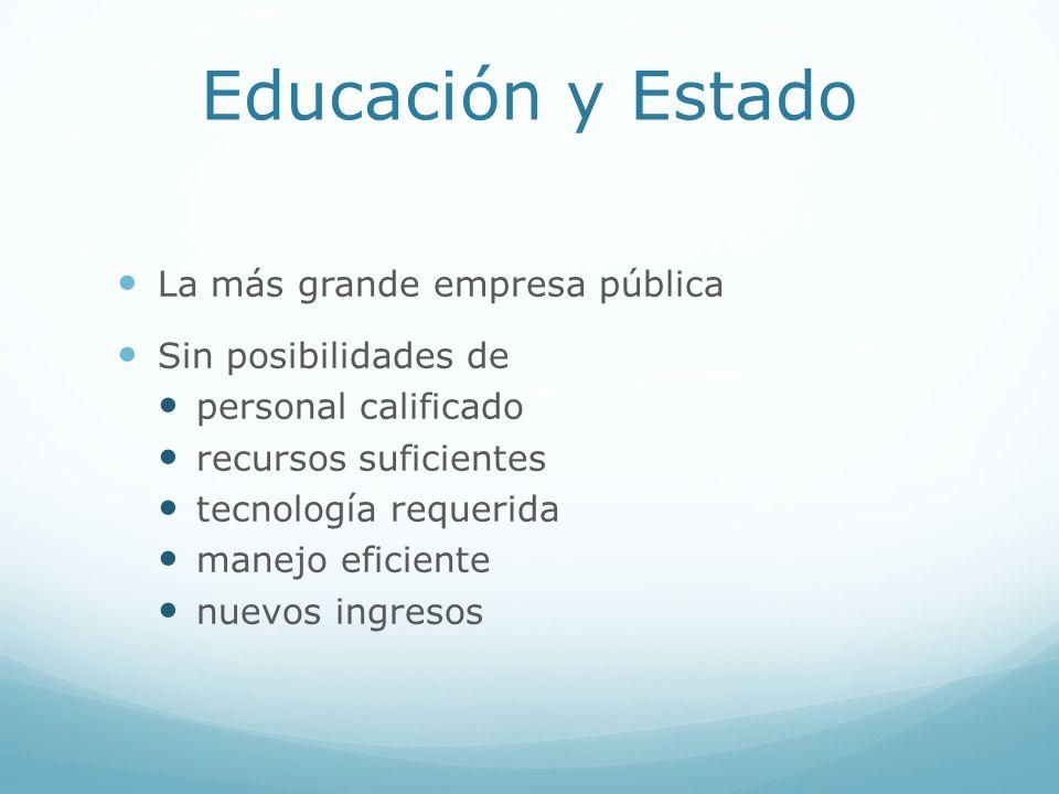 Educación y Estado La más grande empresa pública Sin posibilidades de