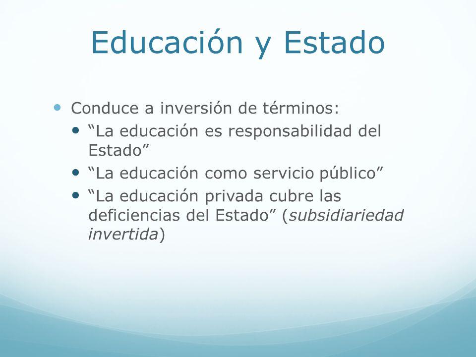 Educación y Estado Conduce a inversión de términos: