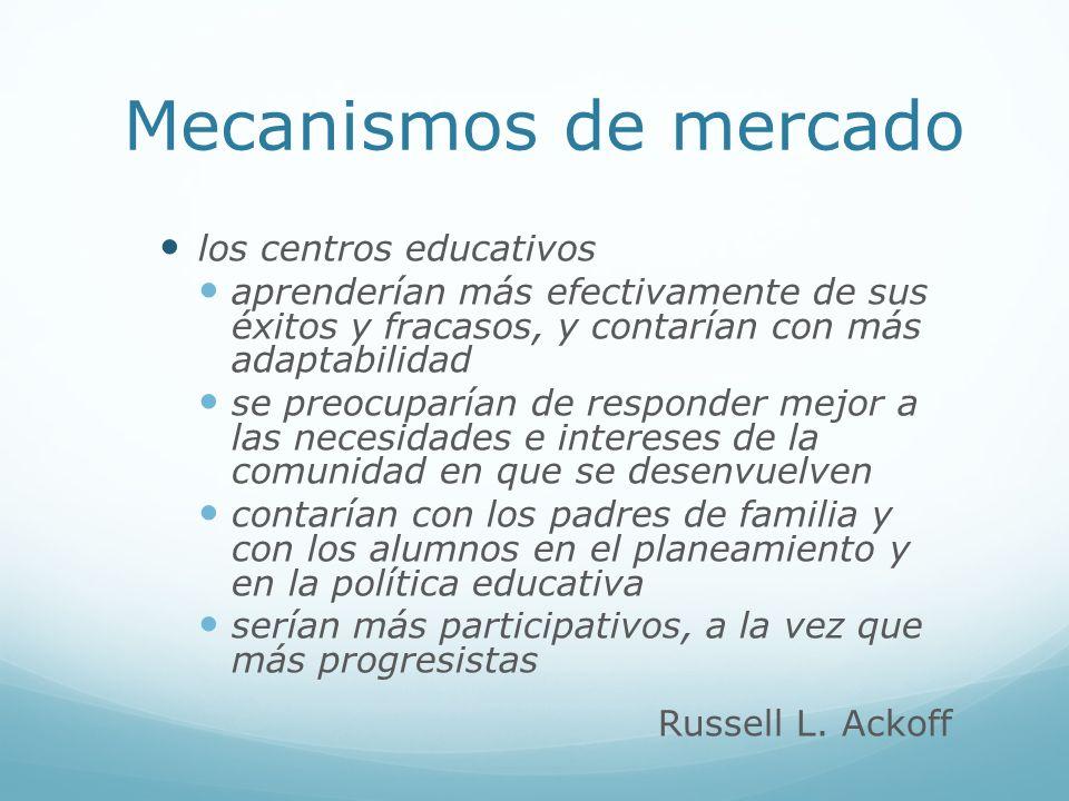 Mecanismos de mercado los centros educativos