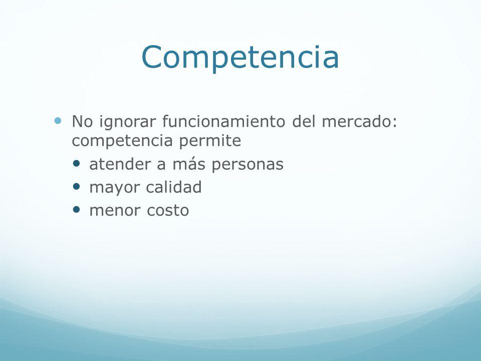 Competencia No ignorar funcionamiento del mercado: competencia permite