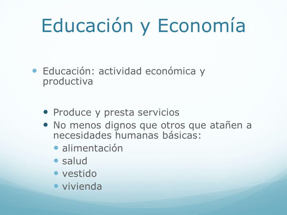 Educación y Economía Educación: actividad económica y productiva