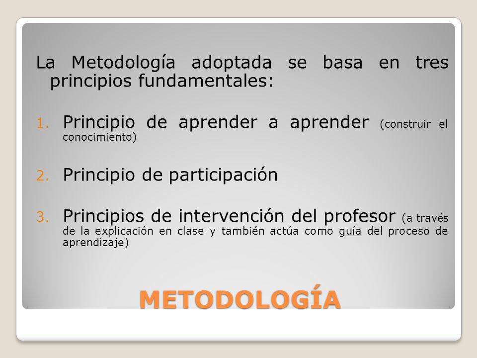 La Metodología adoptada se basa en tres principios fundamentales: