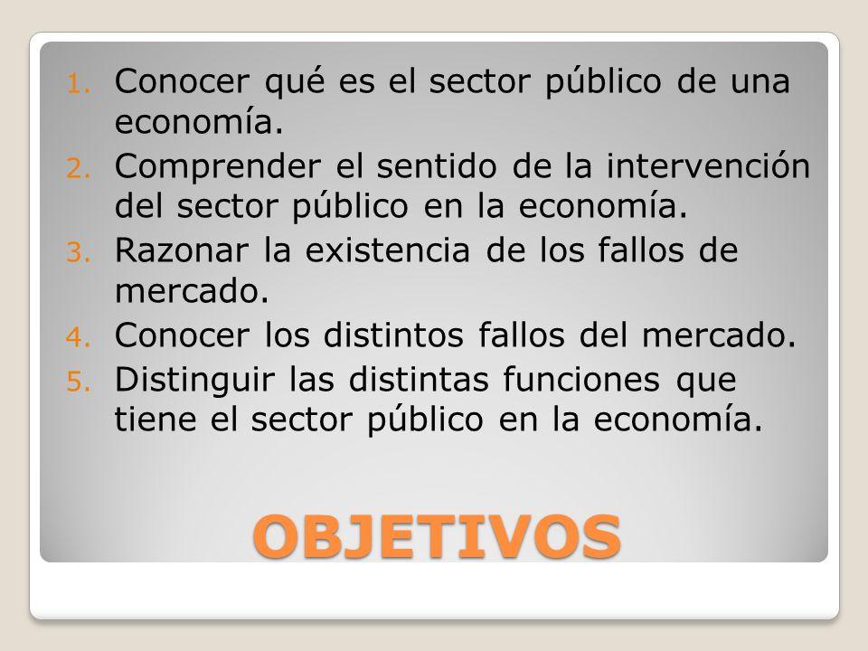 OBJETIVOS Conocer qué es el sector público de una economía.