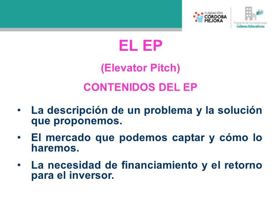 EL EP (Elevator Pitch) CONTENIDOS DEL EP