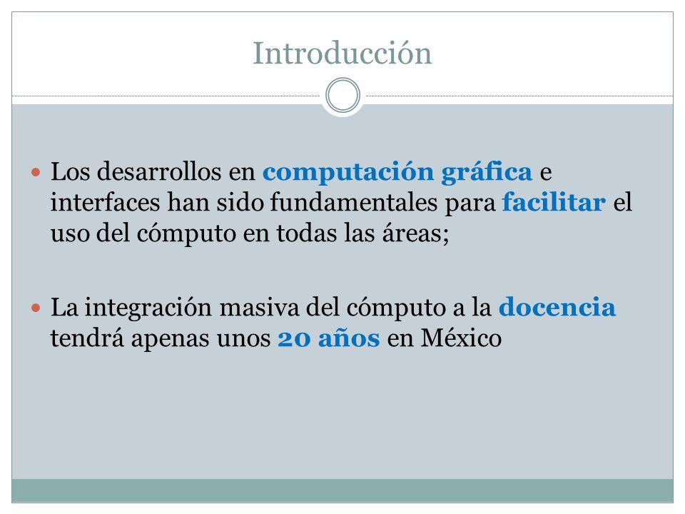 Introducción Los desarrollos en computación gráfica e interfaces han sido fundamentales para facilitar el uso del cómputo en todas las áreas;
