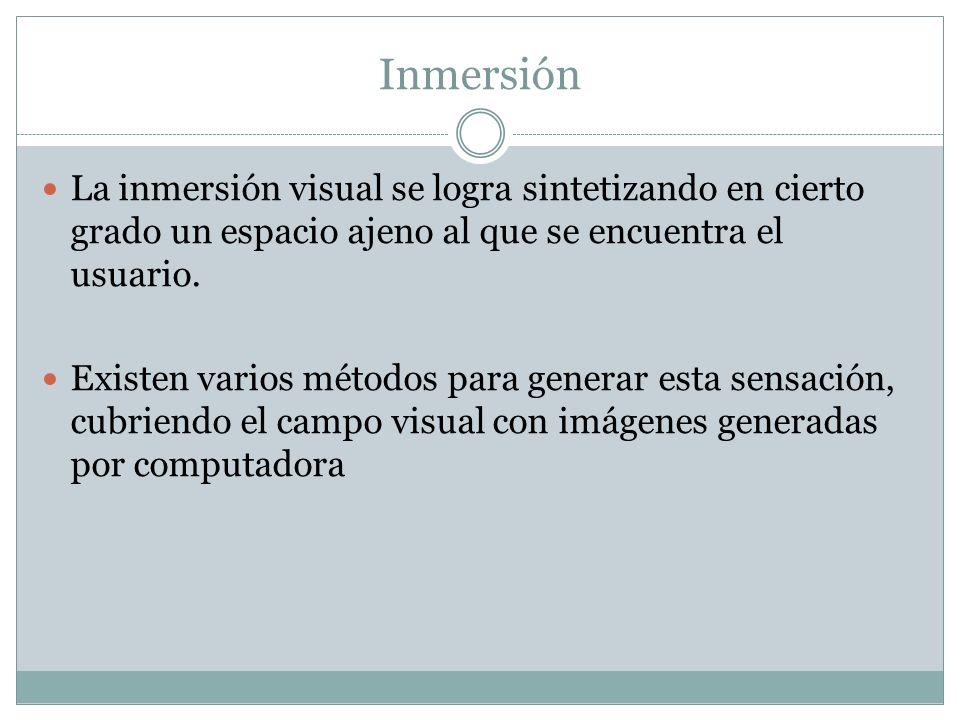Inmersión La inmersión visual se logra sintetizando en cierto grado un espacio ajeno al que se encuentra el usuario.