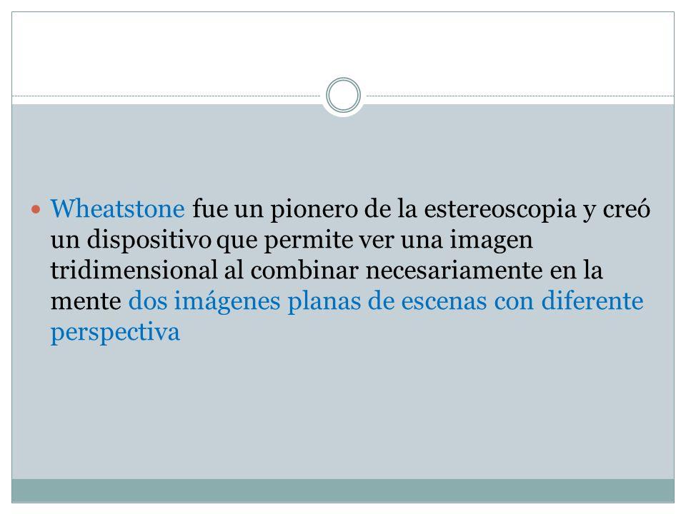 Wheatstone fue un pionero de la estereoscopia y creó un dispositivo que permite ver una imagen tridimensional al combinar necesariamente en la mente dos imágenes planas de escenas con diferente perspectiva