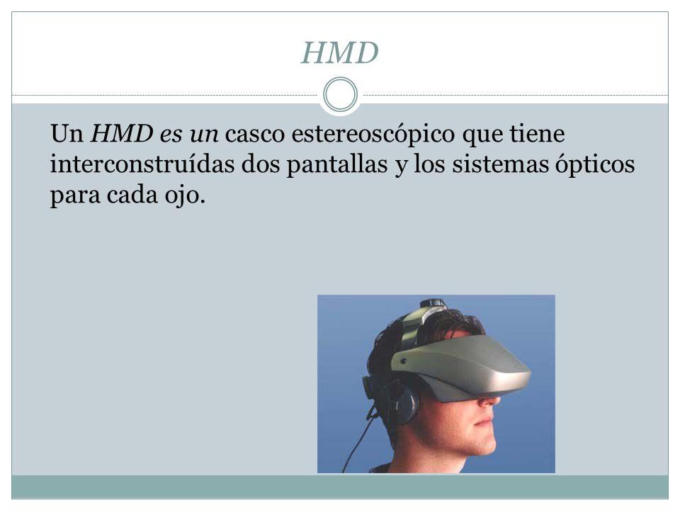 HMD Un HMD es un casco estereoscópico que tiene interconstruídas dos pantallas y los sistemas ópticos para cada ojo.