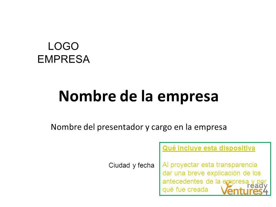 Nombre de la empresa Nombre del presentador y cargo en la empresa