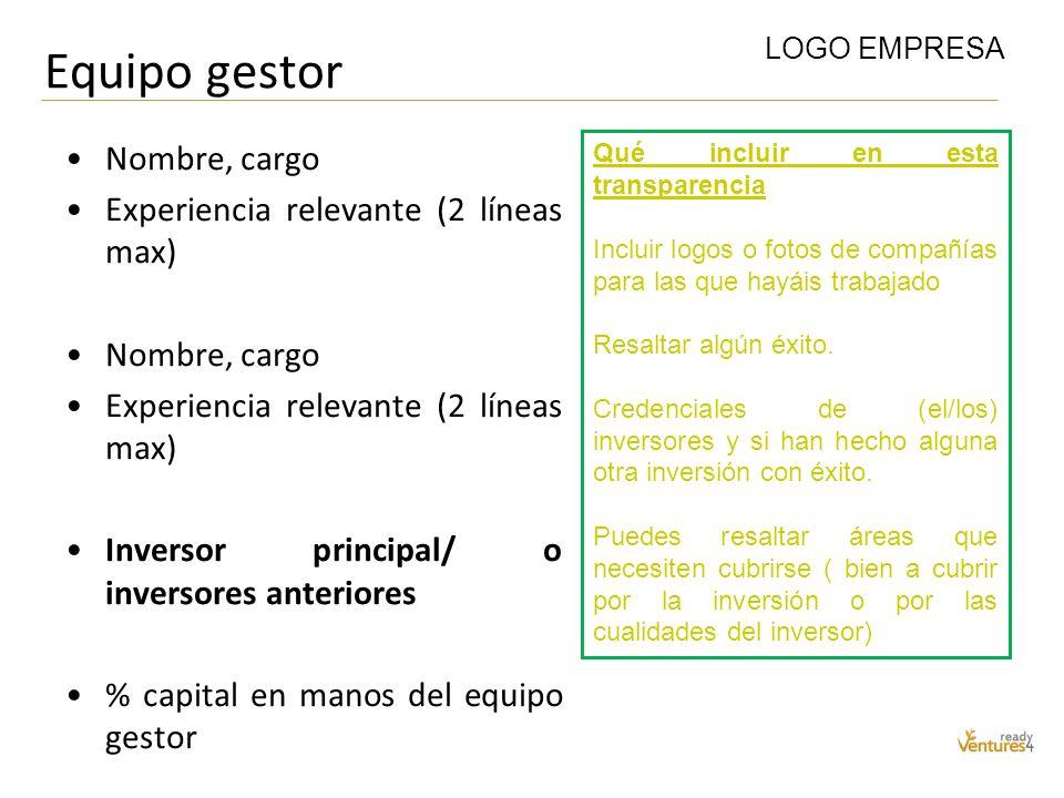 Equipo gestor Nombre, cargo Experiencia relevante (2 líneas max)