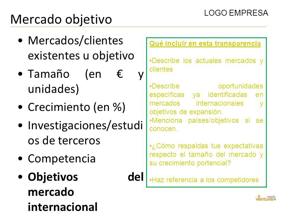 Mercado objetivo Mercados/clientes existentes u objetivo