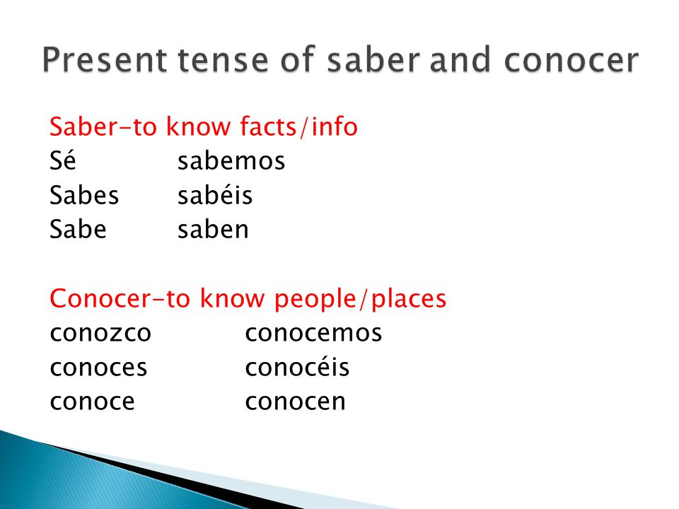 Present tense of saber and conocer