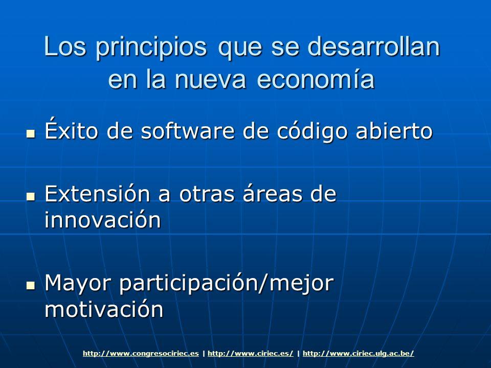 Los principios que se desarrollan en la nueva economía