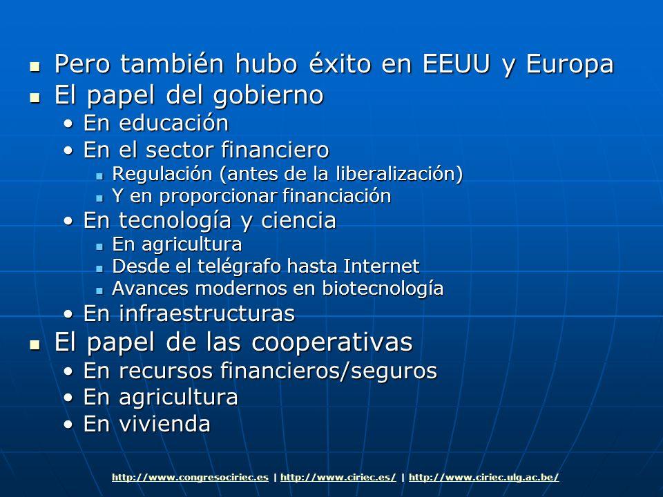 Pero también hubo éxito en EEUU y Europa El papel del gobierno