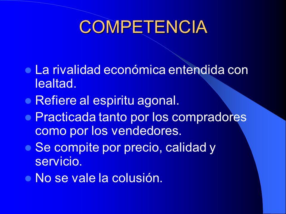 COMPETENCIA La rivalidad económica entendida con lealtad.