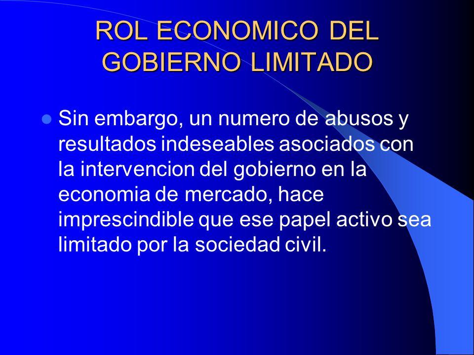 ROL ECONOMICO DEL GOBIERNO LIMITADO