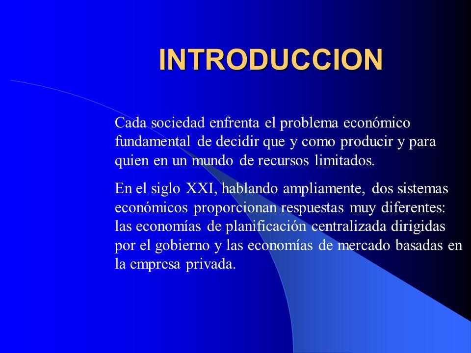 INTRODUCCION Cada sociedad enfrenta el problema económico fundamental de decidir que y como producir y para quien en un mundo de recursos limitados.