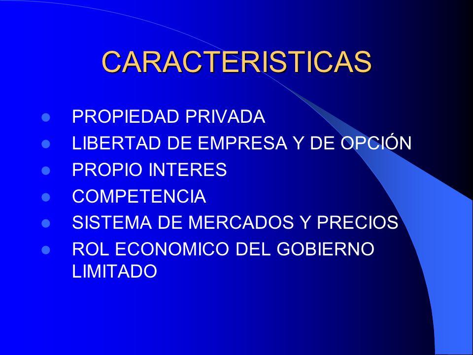 CARACTERISTICAS PROPIEDAD PRIVADA LIBERTAD DE EMPRESA Y DE OPCIÓN