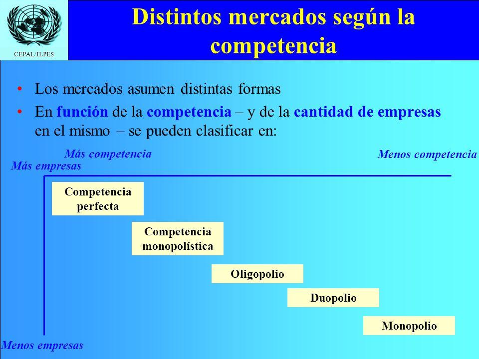 Distintos mercados según la competencia