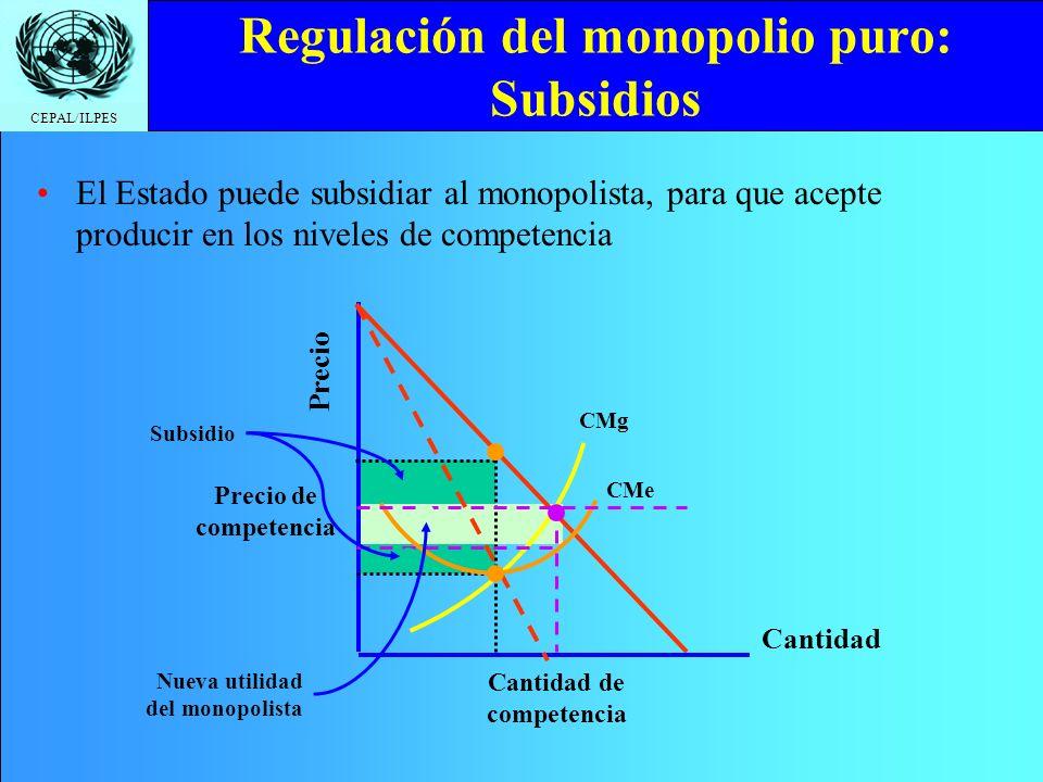 Regulación del monopolio puro: Subsidios