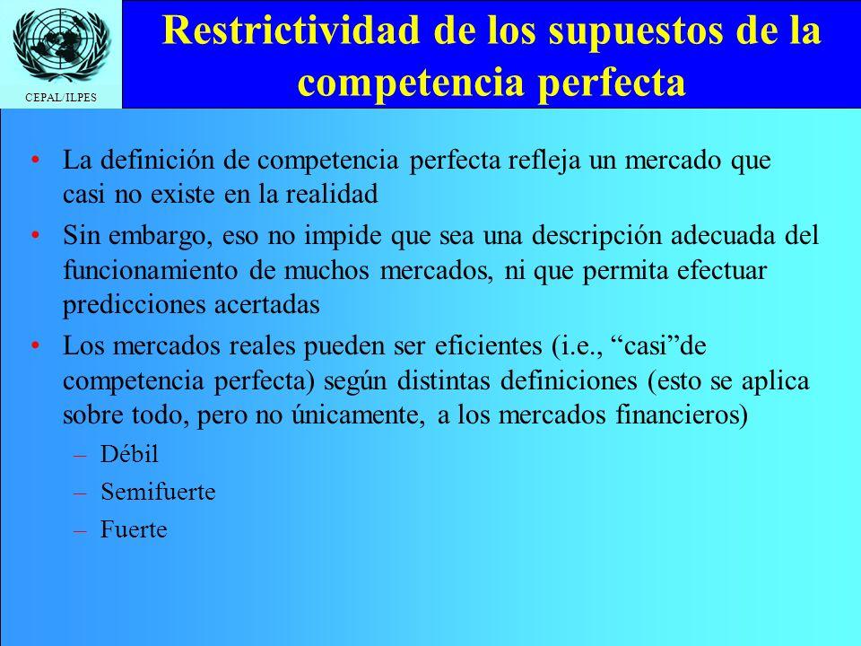 Restrictividad de los supuestos de la competencia perfecta
