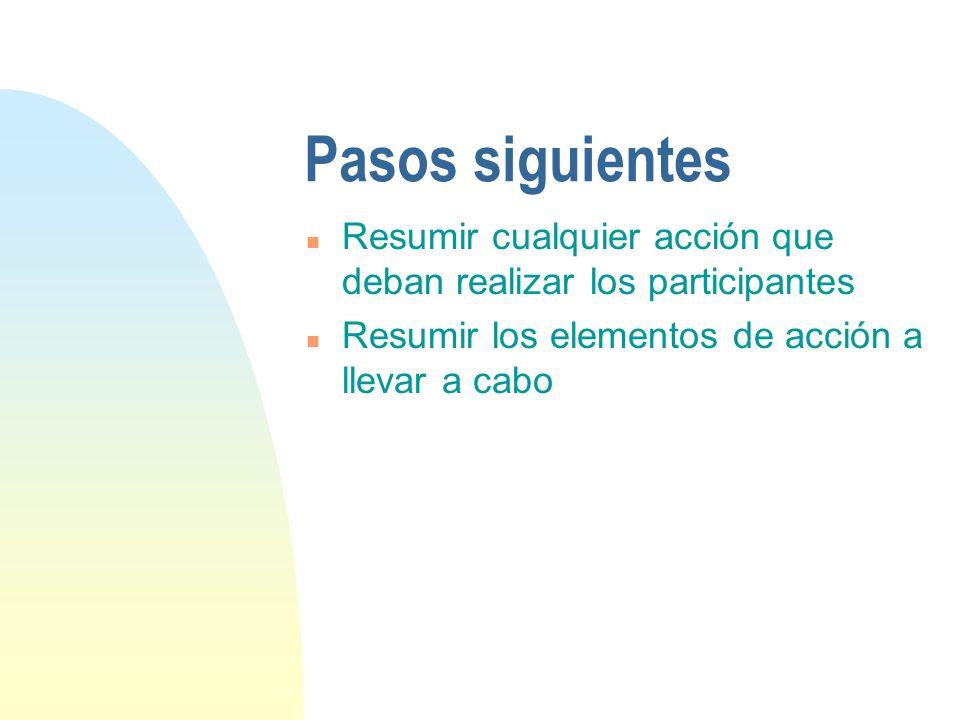 Pasos siguientes Resumir cualquier acción que deban realizar los participantes.