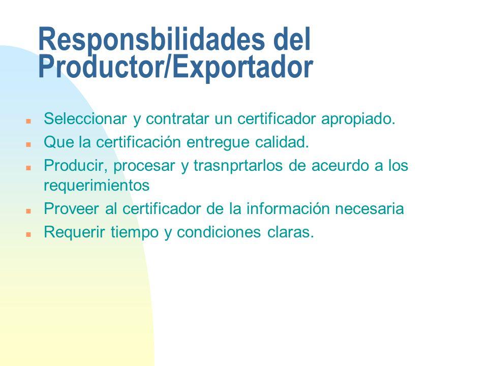 Responsbilidades del Productor/Exportador