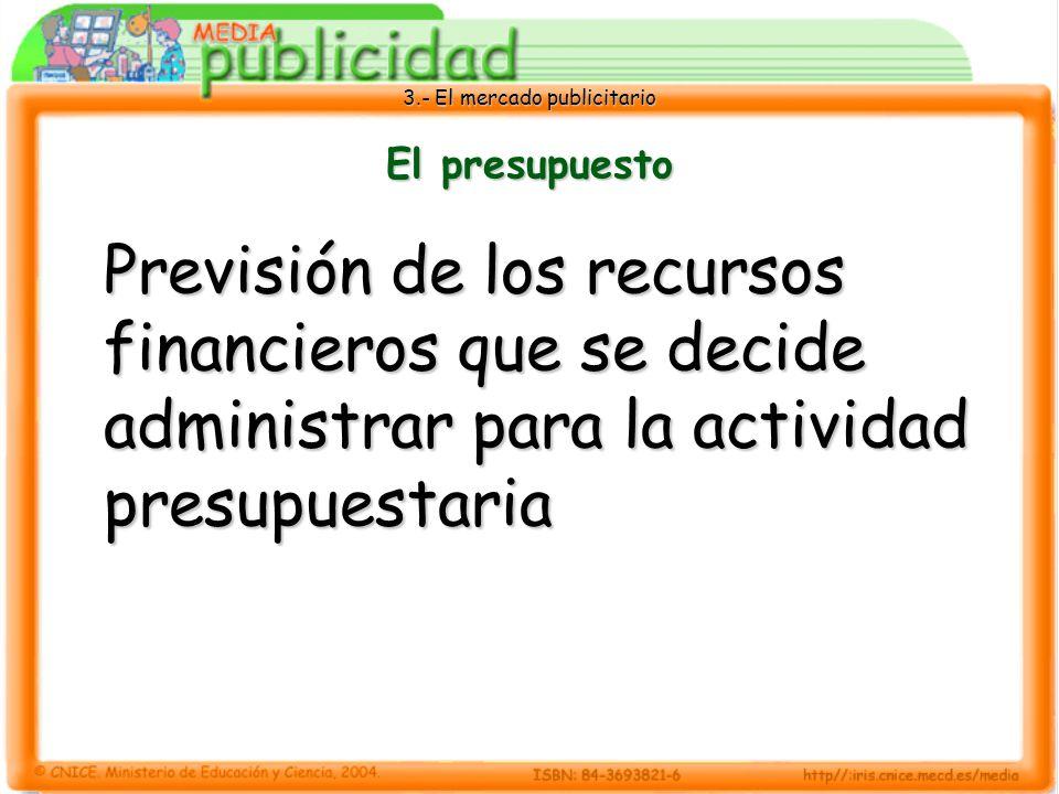 El presupuesto Previsión de los recursos financieros que se decide administrar para la actividad presupuestaria.