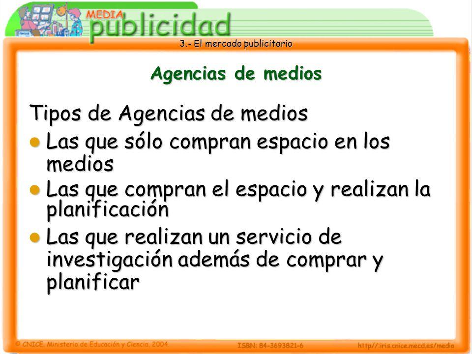 Tipos de Agencias de medios Las que sólo compran espacio en los medios