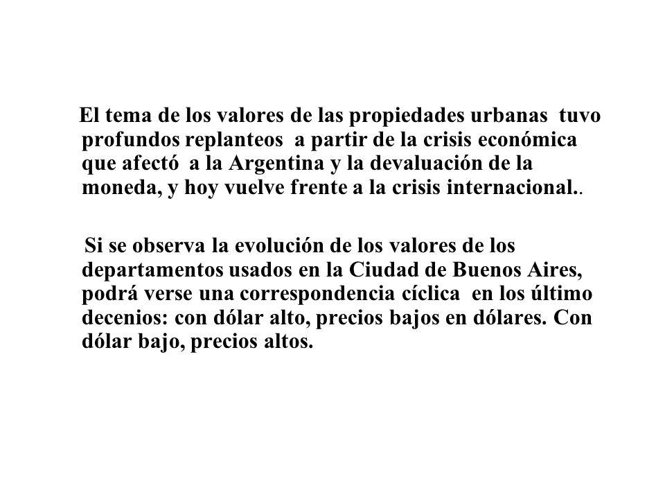El tema de los valores de las propiedades urbanas tuvo profundos replanteos a partir de la crisis económica que afectó a la Argentina y la devaluación de la moneda, y hoy vuelve frente a la crisis internacional..