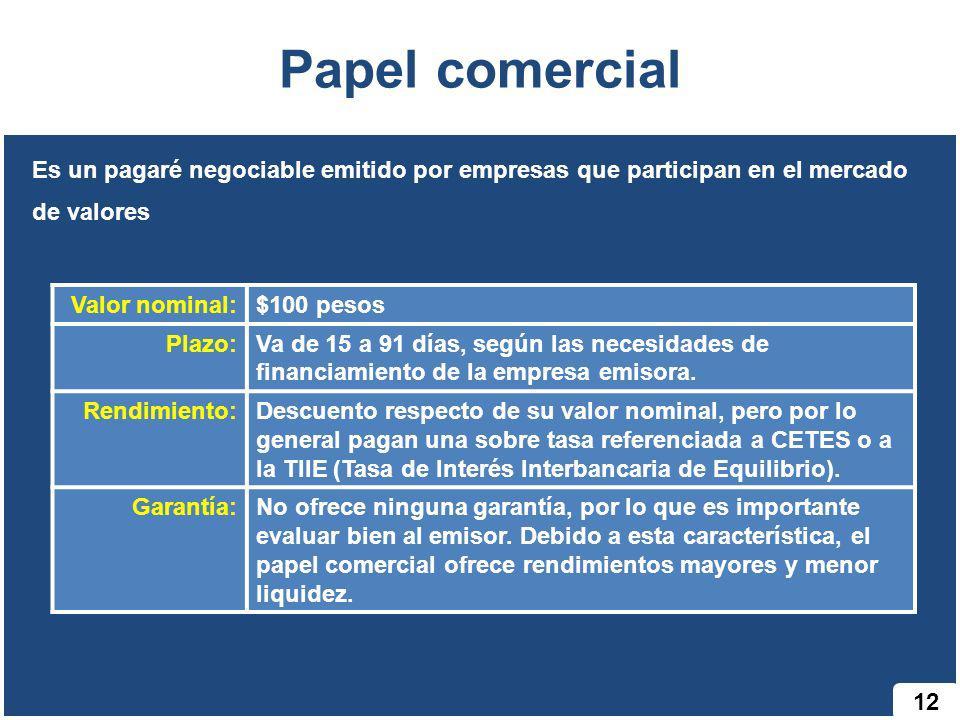 Papel comercial Es un pagaré negociable emitido por empresas que participan en el mercado de valores.