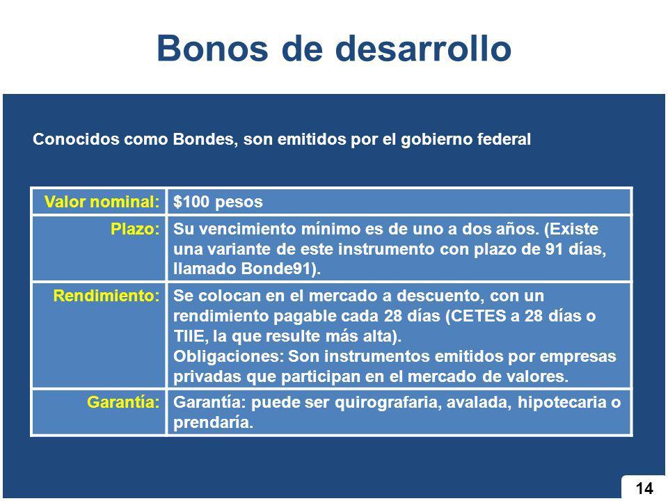 Bonos de desarrollo Conocidos como Bondes, son emitidos por el gobierno federal. Valor nominal: $100 pesos.