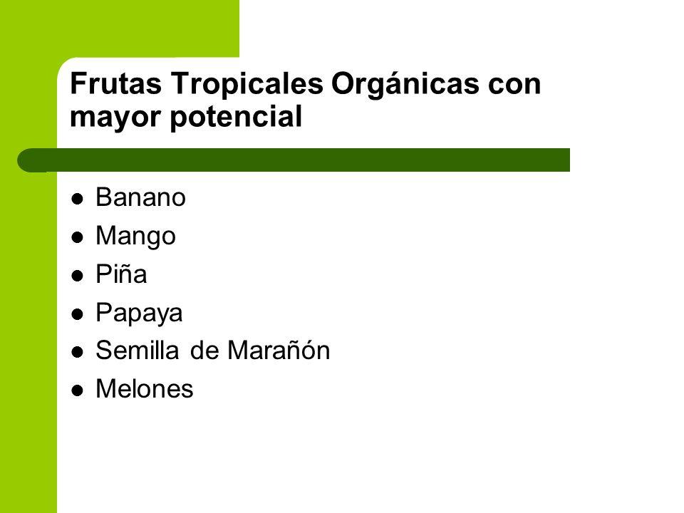 Frutas Tropicales Orgánicas con mayor potencial