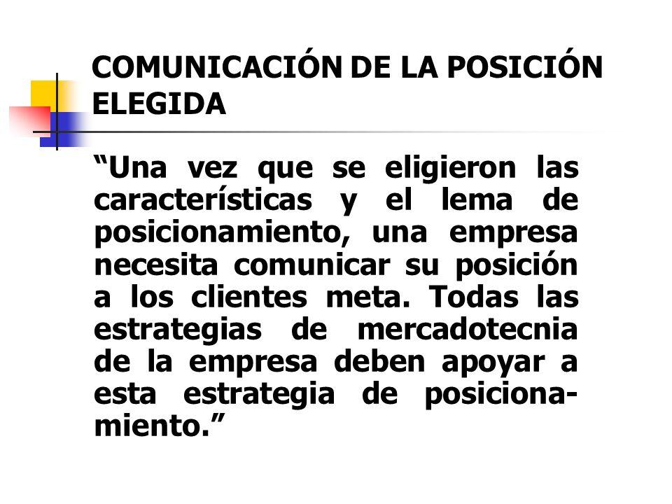 COMUNICACIÓN DE LA POSICIÓN ELEGIDA