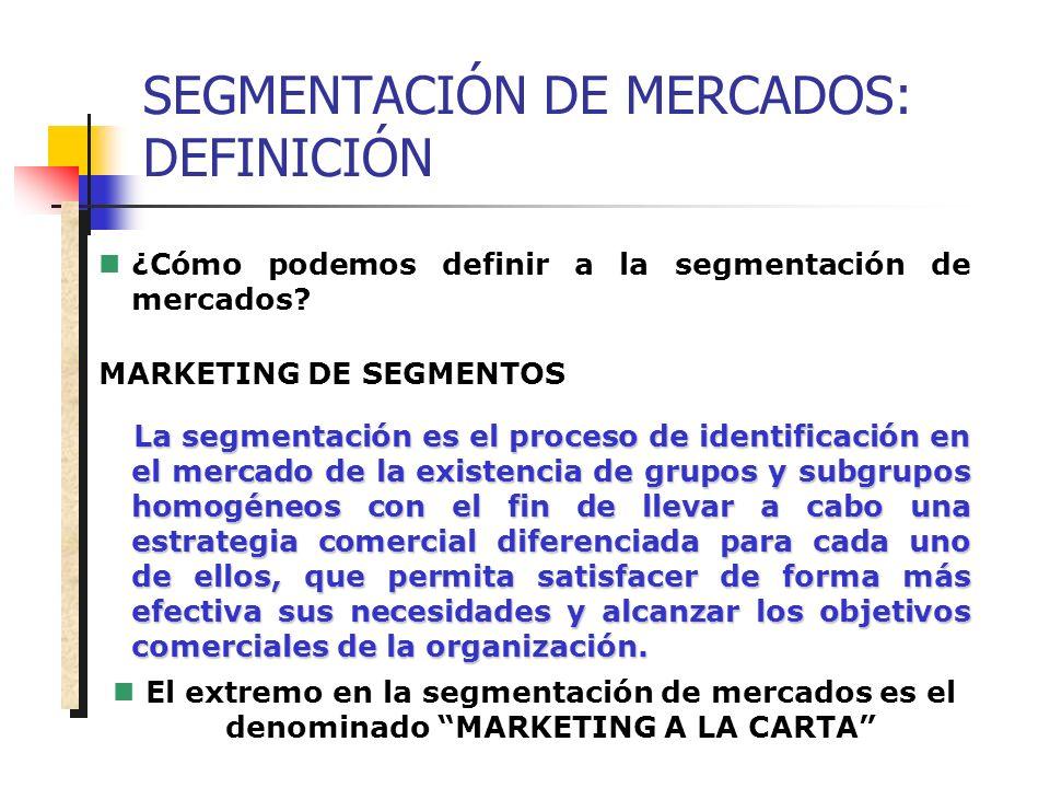 SEGMENTACIÓN DE MERCADOS: DEFINICIÓN