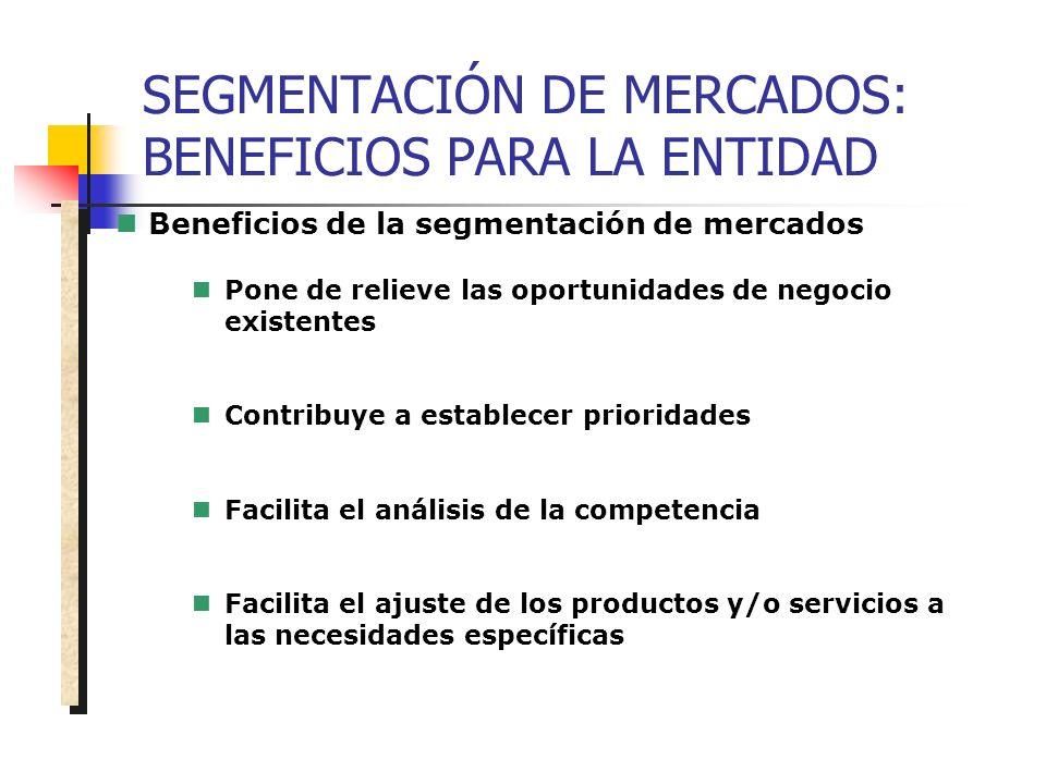 SEGMENTACIÓN DE MERCADOS: BENEFICIOS PARA LA ENTIDAD