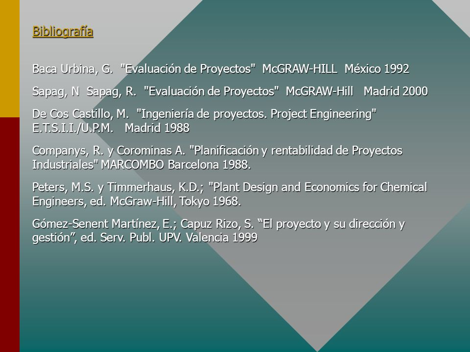 BibliografíaBaca Urbina, G. Evaluación de Proyectos McGRAW-HILL México 1992.