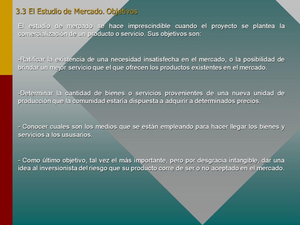 3.3 El Estudio de Mercado. Objetivos