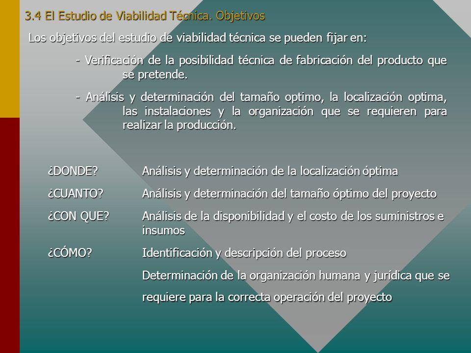 3.4 El Estudio de Viabilidad Técnica. Objetivos
