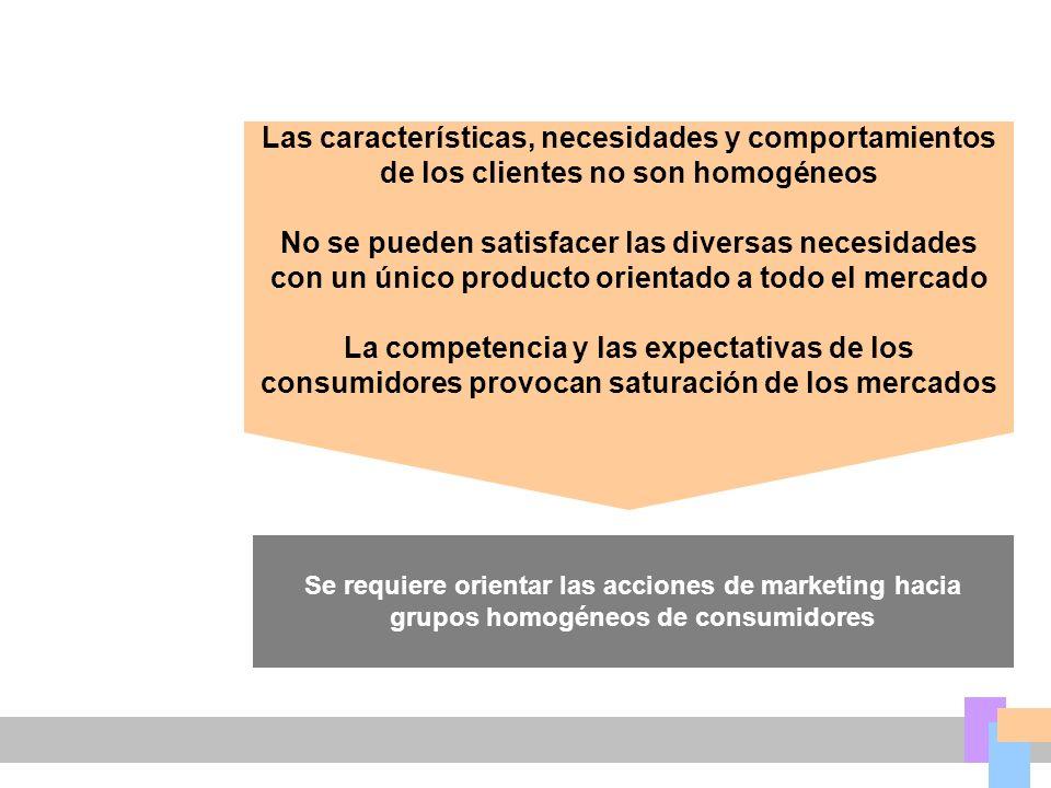 Las características, necesidades y comportamientos de los clientes no son homogéneos