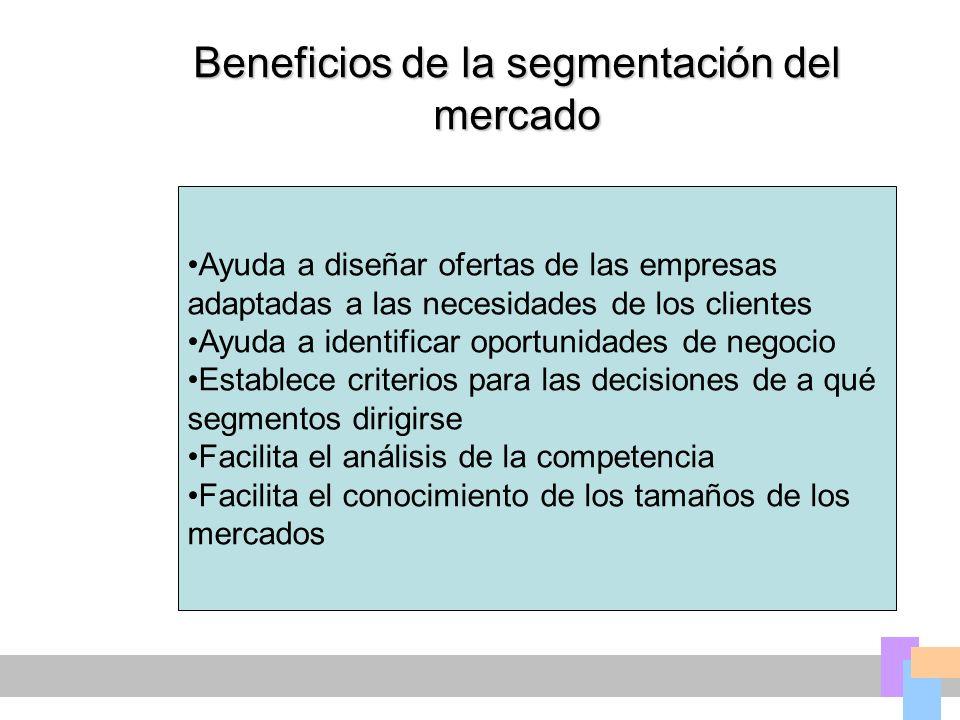 Beneficios de la segmentación del mercado