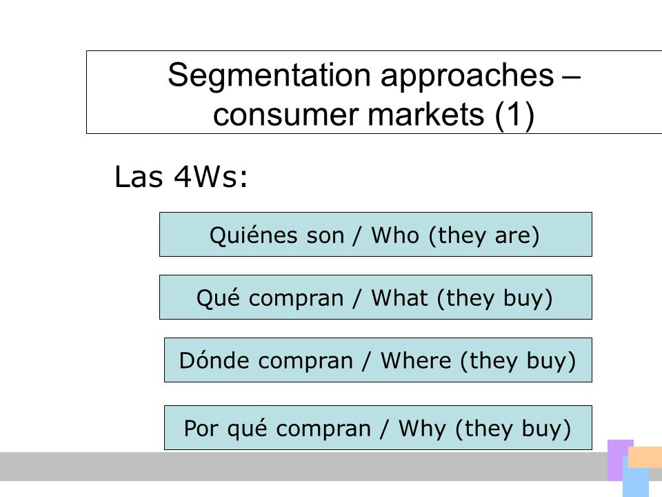Segmentation approaches – consumer markets (1)