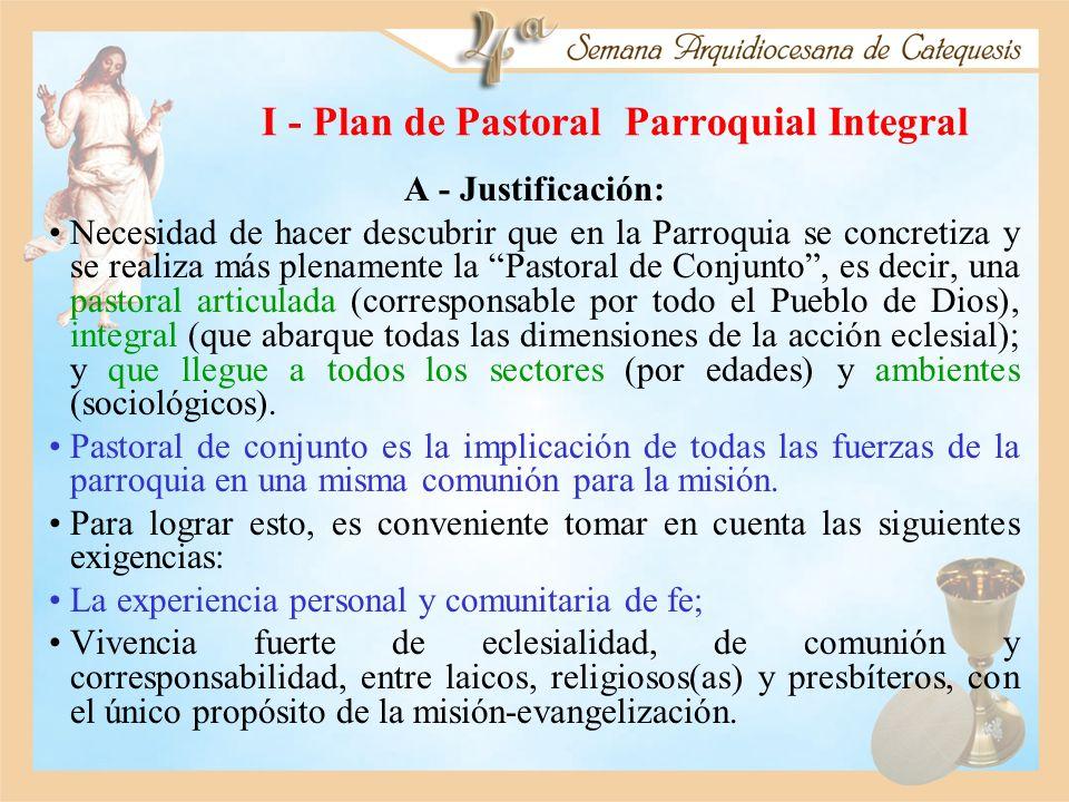 I - Plan de Pastoral Parroquial Integral
