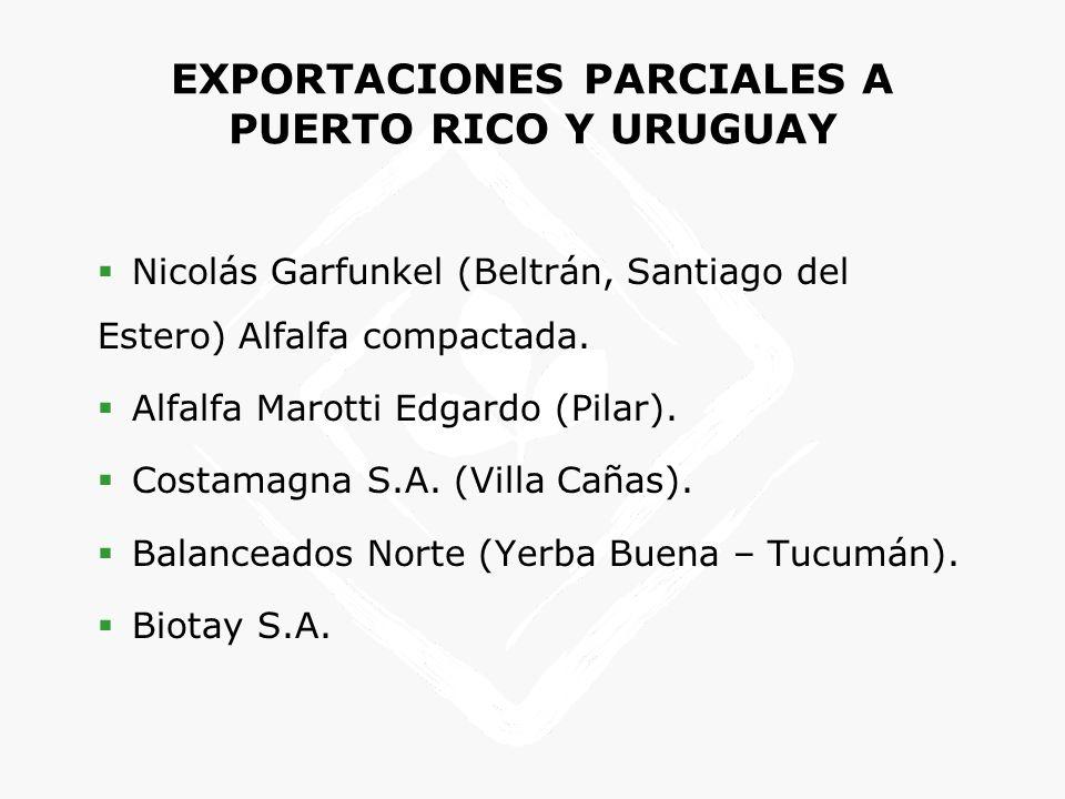 EXPORTACIONES PARCIALES A PUERTO RICO Y URUGUAY