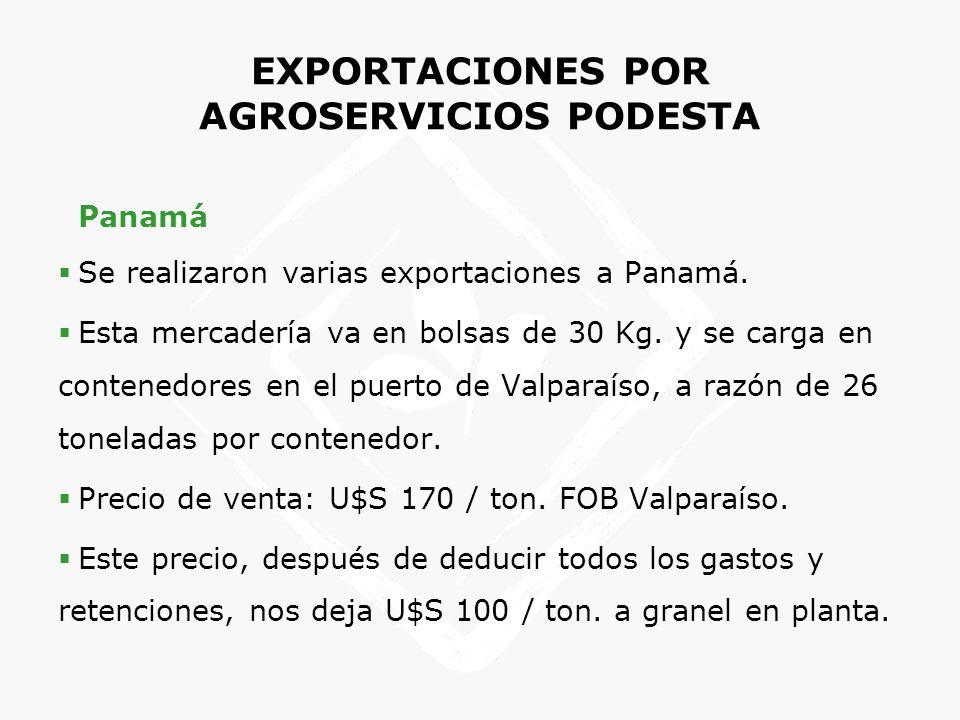 EXPORTACIONES POR AGROSERVICIOS PODESTA