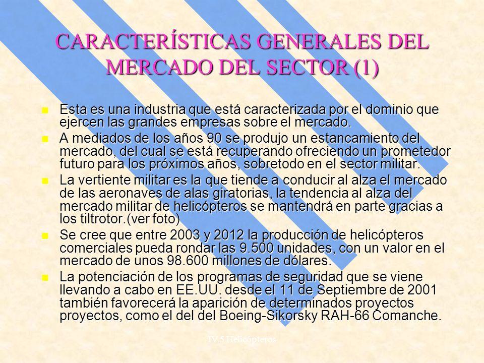 CARACTERÍSTICAS GENERALES DEL MERCADO DEL SECTOR (1)