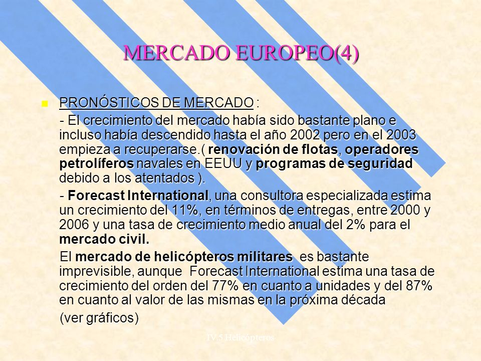 MERCADO EUROPEO(4) PRONÓSTICOS DE MERCADO :