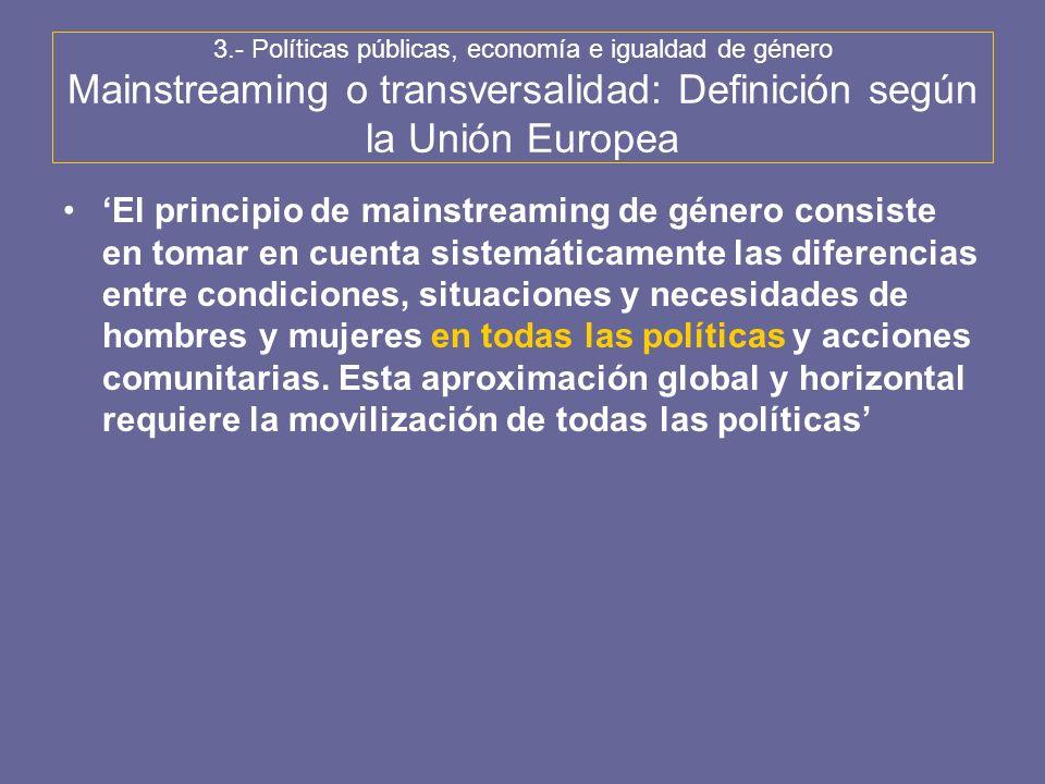 3.- Políticas públicas, economía e igualdad de género Mainstreaming o transversalidad: Definición según la Unión Europea